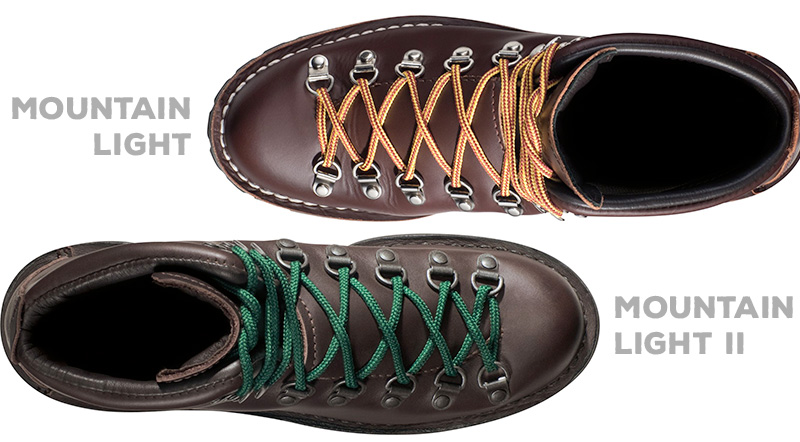 """Danner uses different leathers for their """"brown"""" Mountain Light and Mountain Light II boots"""