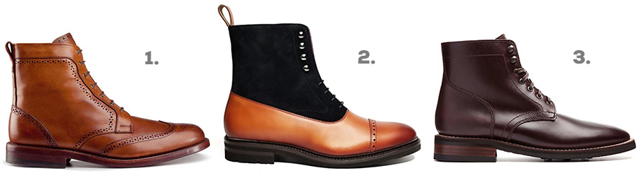 1. Allen Edmonds Avenue Dress Boot ( Amazon )  2. Southern Gents Logan Captoe Boot ( Amazon )  3. Thursday Boot Co. President ( Amazon )