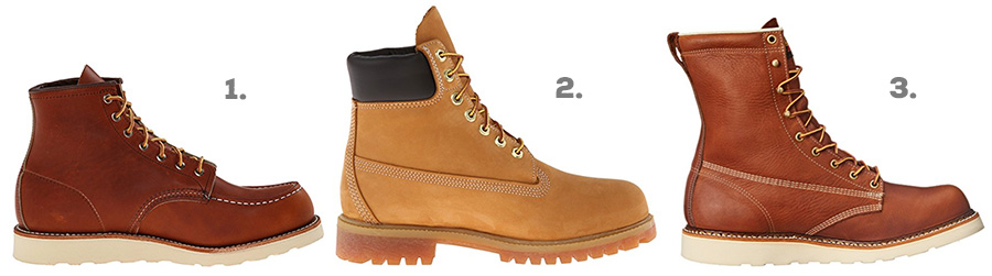 "1. Red Wing Heritage Classic Moc ( Amazon )  2. Timberland Premium 6"" Boot ( Amazon )  3. Thorogood American Heritage 8"" Work Boot ( Amazon )"