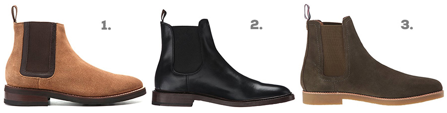 1. Thursday Boot Co. Duke Chelsea Boot ( Amazon )  2. FRYE Jones Chelsea Boots ( Amazon )  3. Tommy Hilfiger Crane Chelsea Boot ( Amazon )