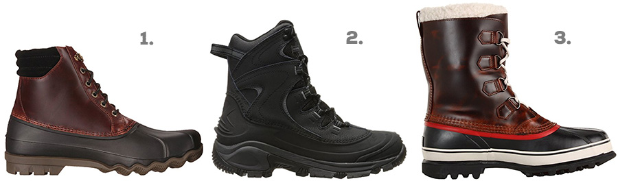 1. Sperry Top-Sider Avenue Duck Boot ( Amazon )  2. Columbia Bugaboot II Snow Boot ( Amazon )  3. Sorel Caribou Wool Boot ( Amazon )