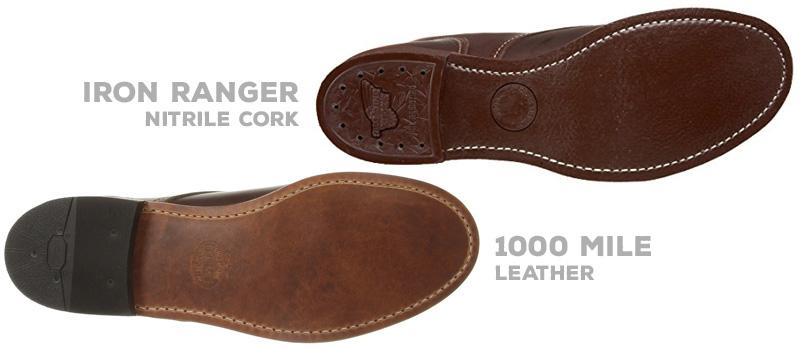 Original Soles: Iron Ranger nitrile cork outsole vs Original 1000 Mile leather outsole