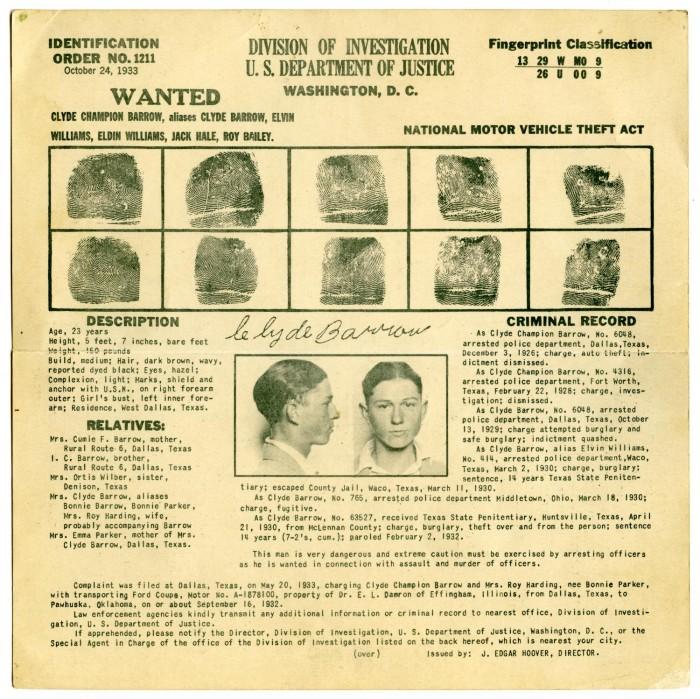 Clyde Champion Barrow Fingerprint Chart 10/24/1933.