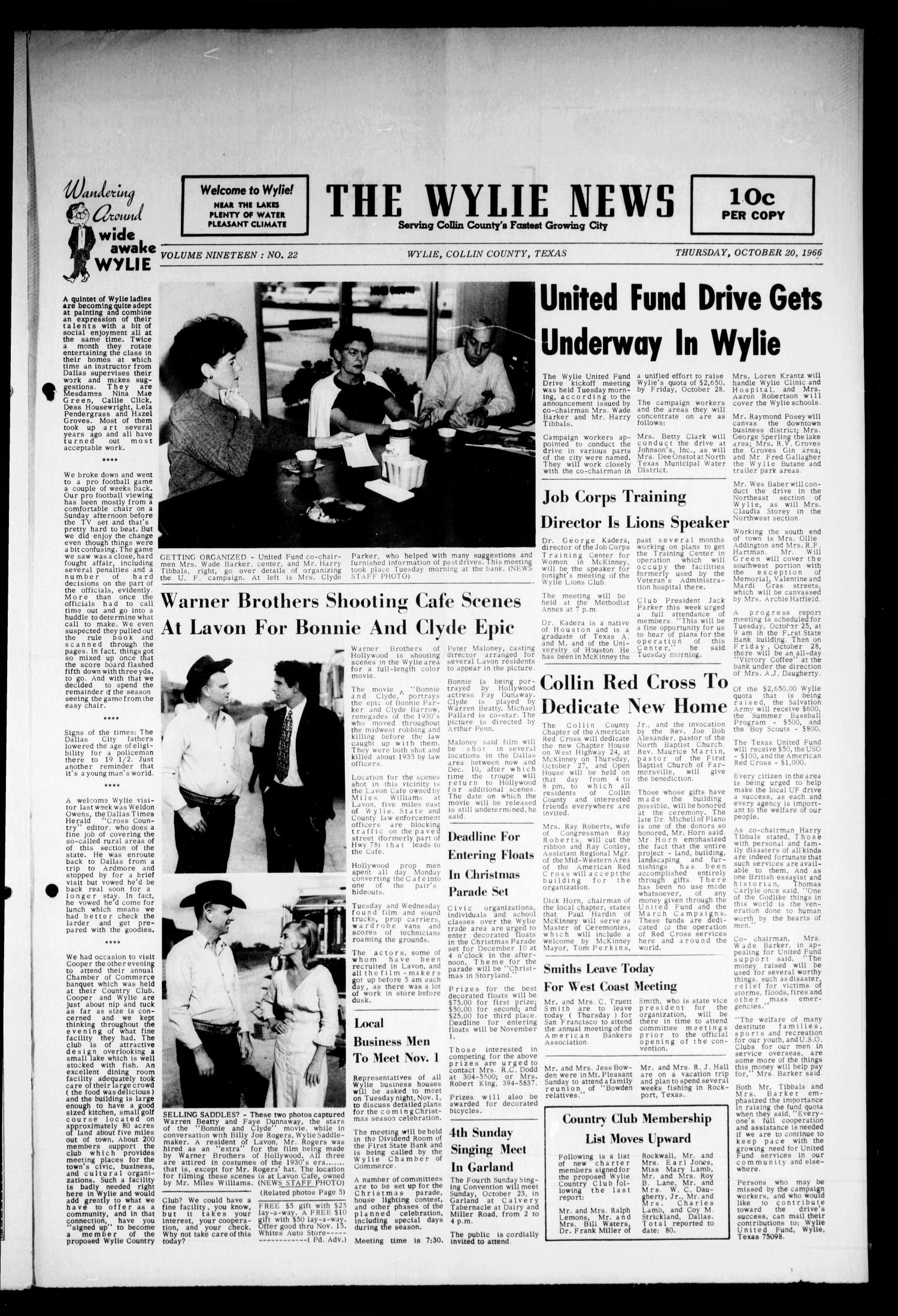 Warner Brothers Shooting Cafe Scenes at Lavon for Bonnie and Clyde Epic (October 20, 1960)