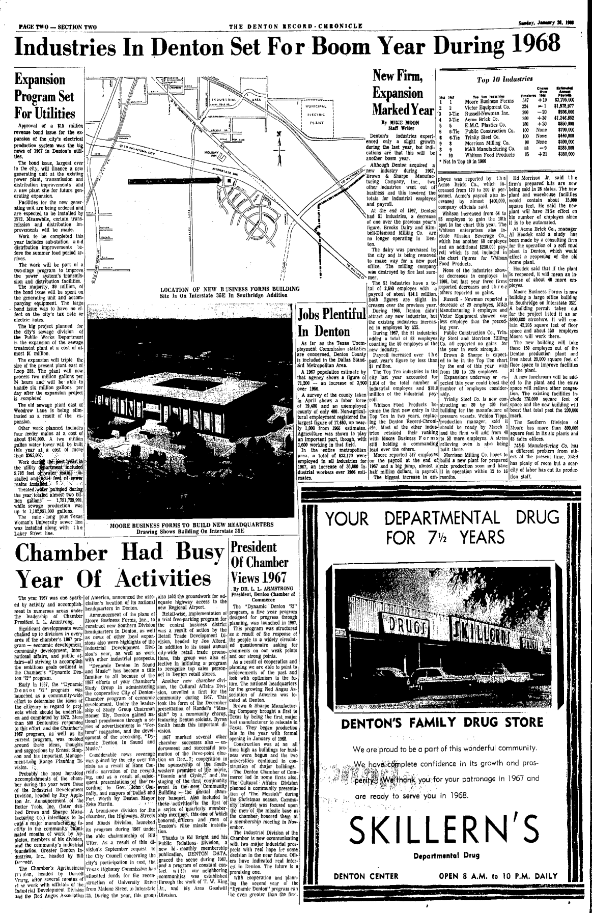 Industries in Denton Set for Boom Year During 1968