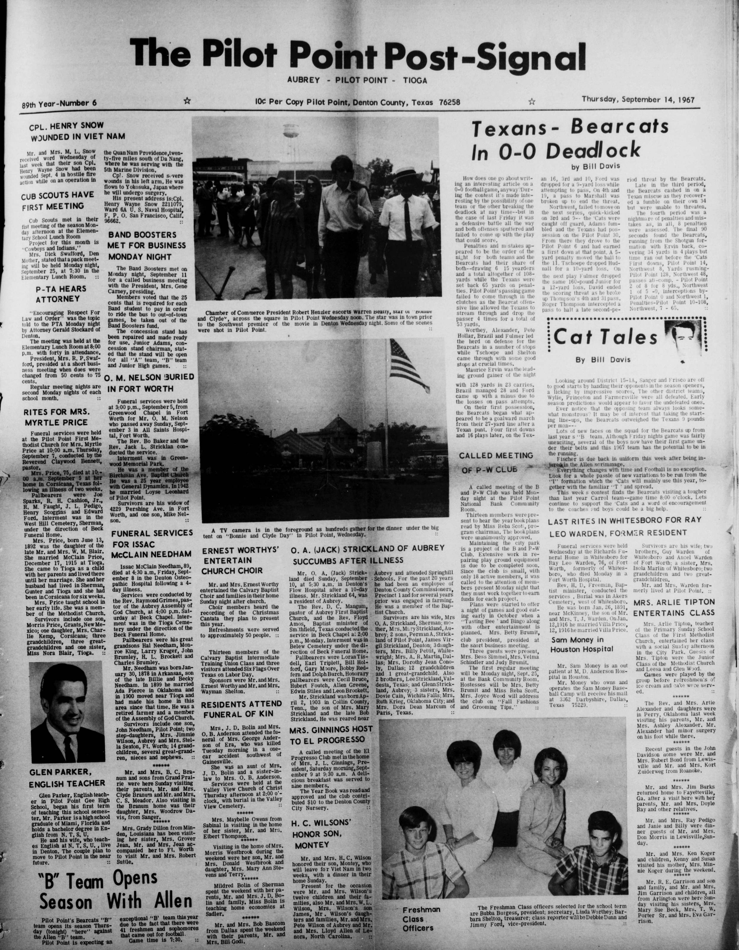 Photographs of Premiere Events in Pilot Point (September 14, 1967)