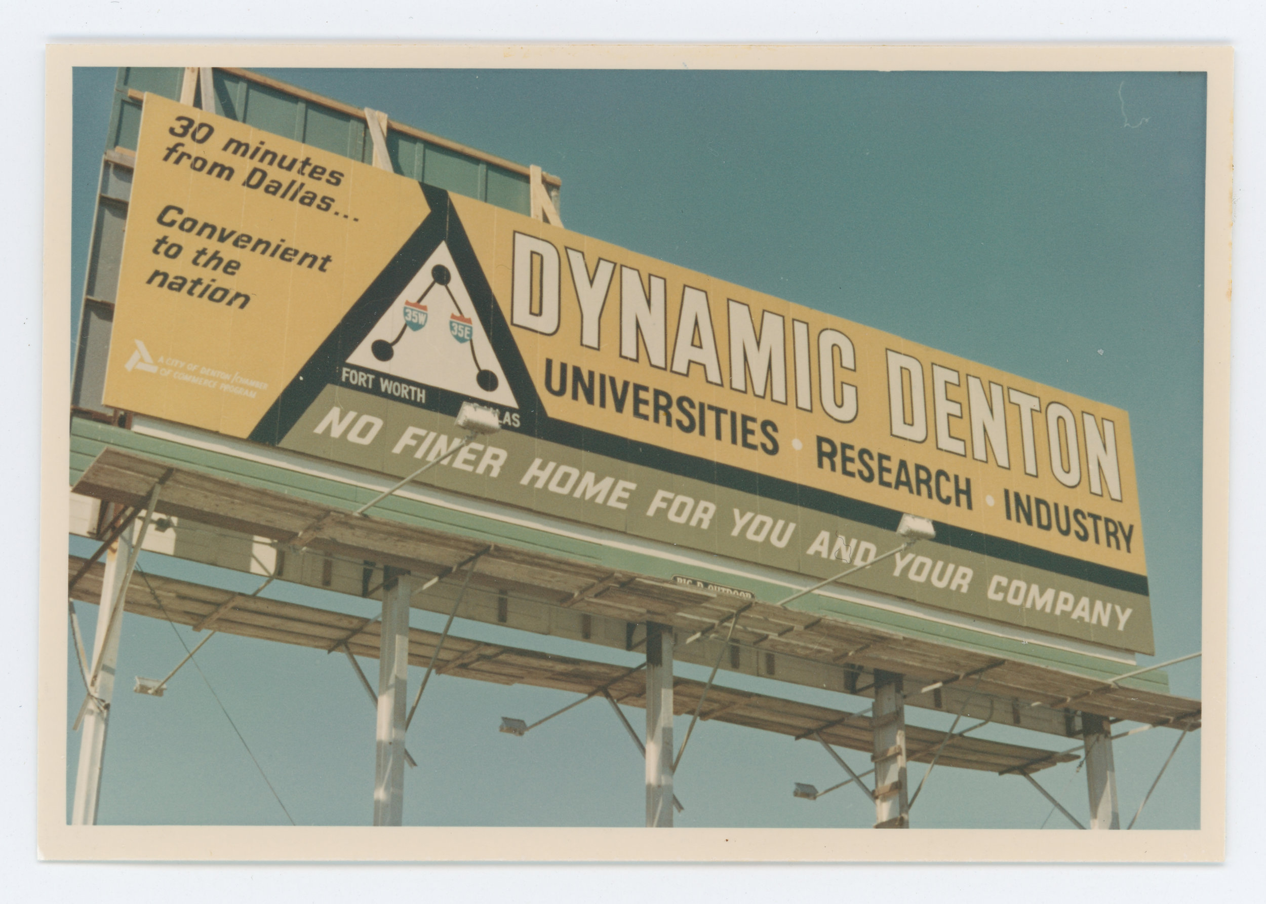 """Located at the corner of Mockingbird and Forest Park, this lighted bulletin advertising """"Dynamic Denton"""" was strategically placed along Love Field's most heavily trafficked route for incoming passengers."""