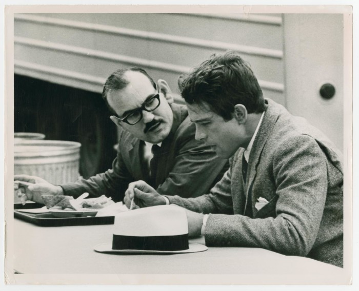 Denton Record Chronicle Reporter Keith Shelton interviews actor Warren Beatty over lunch during location shooting in Pilot Point.