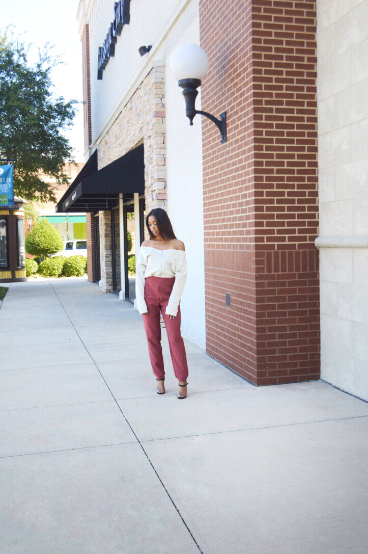 Off-Shoulder Zae Sweatshirt:  The Line by K  , High Waist Trousers:  Charlotte Russe