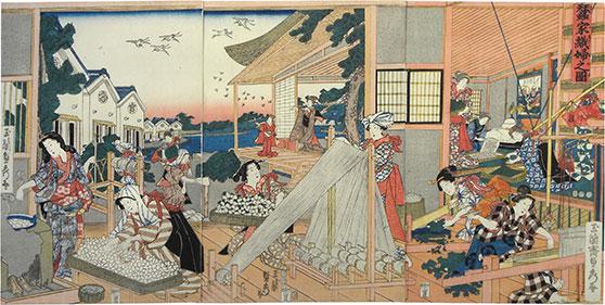 Utagawa Sadahide , 1807-1873 (weaving women at silk-making cottage)