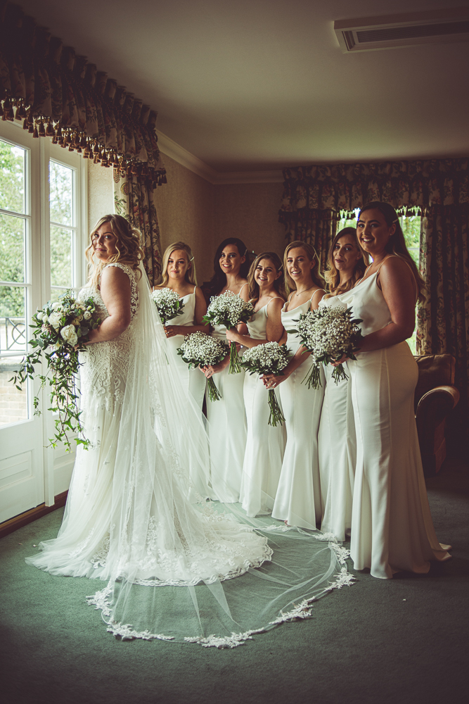 Luton Hoo, Bedfordshire. Wedding preparations with the bride and her bride squad
