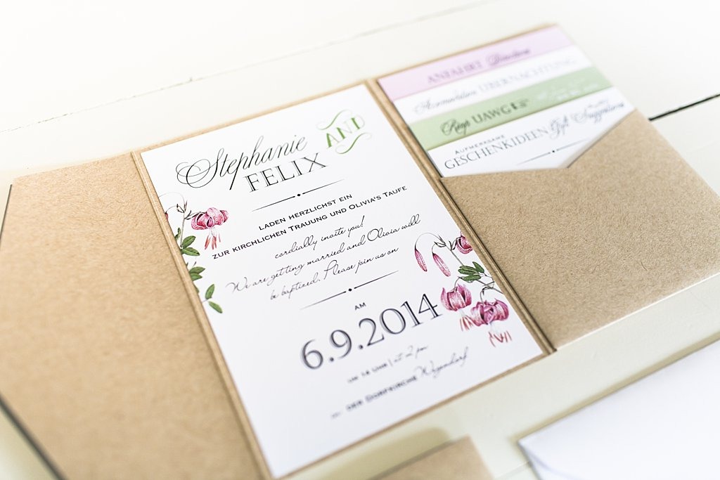Hochzeitseinladung Pocketfold Pocketeinladung