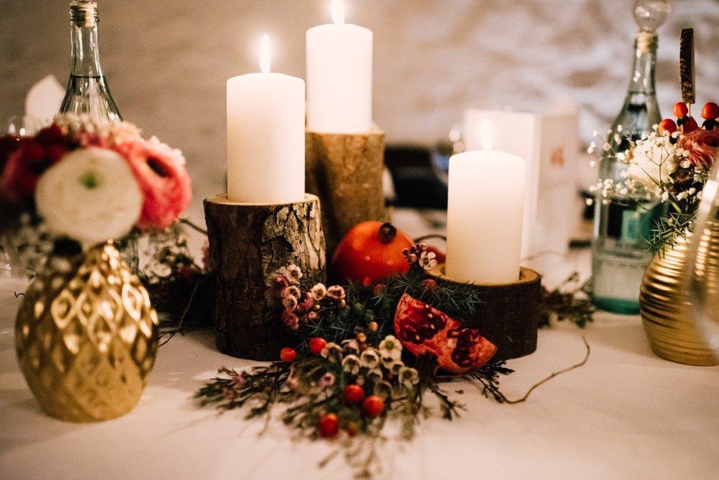 Tischdeko rustikal Winter Hochzeit