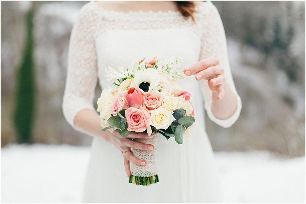 Brautstrauß Anemone weiß Winter