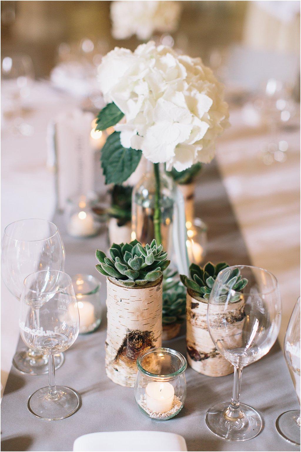 Tischdeko weiße Hortensien