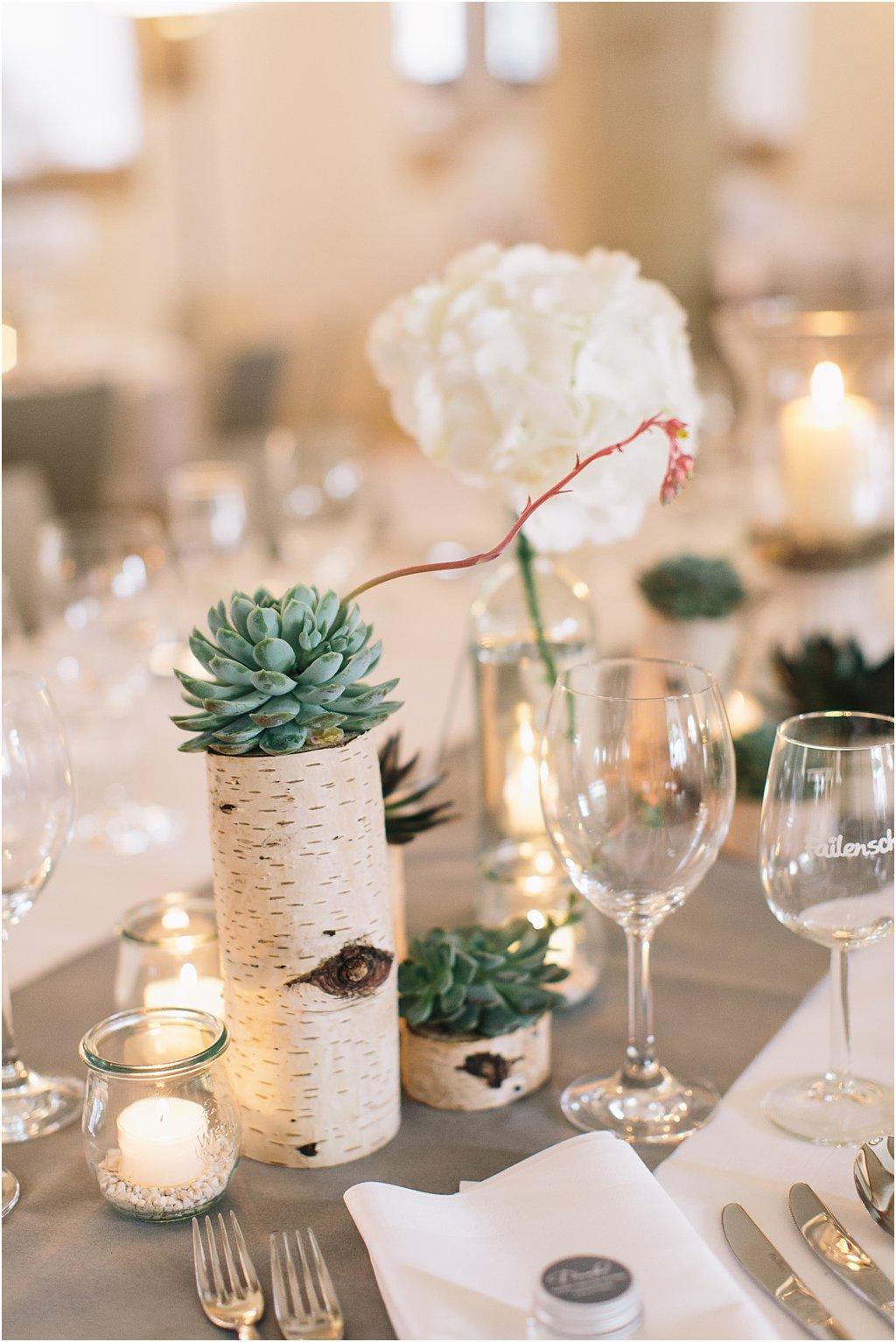 Tischdeko Hochzeit Birkenholz