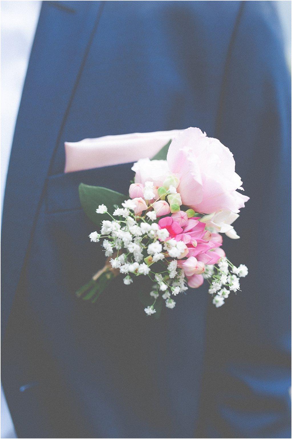 Anstecker Boutonniere rosa-weiß