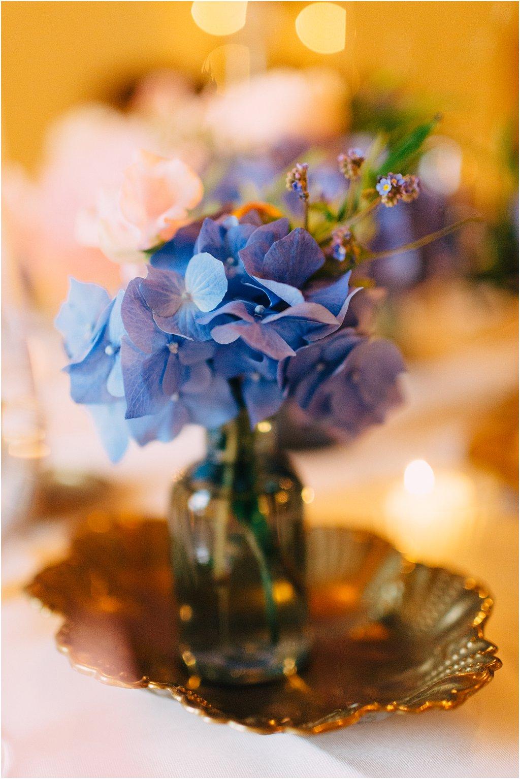 Tischdekoration Hortensie Gold