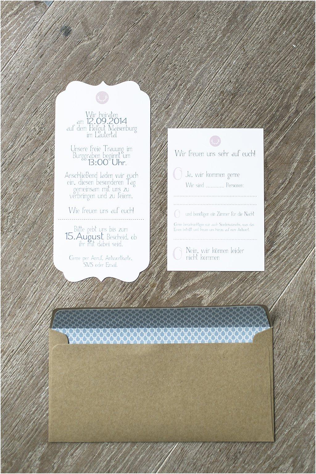 Einladung und Antwortkarte Rückseite