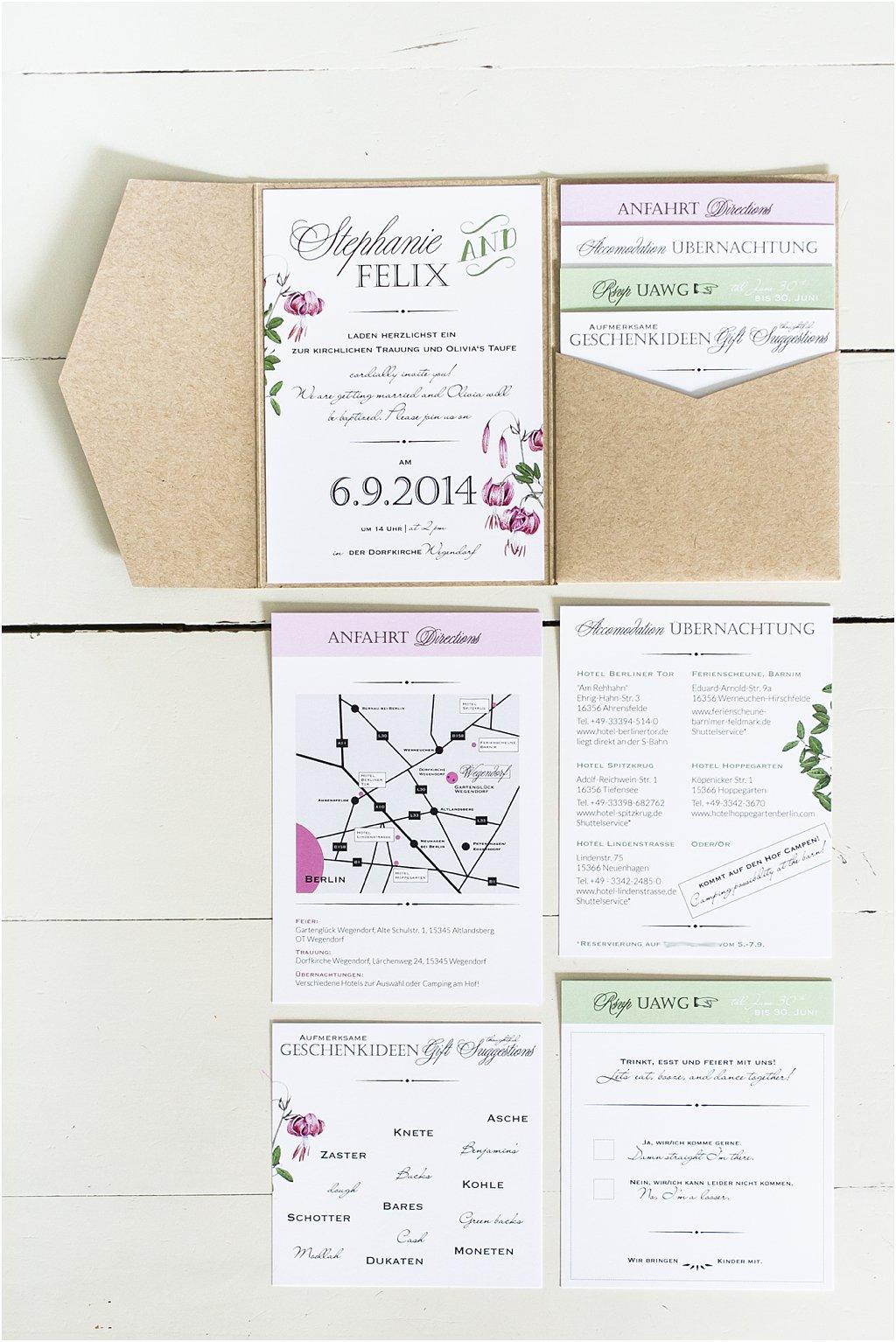 Pocketeinladung mit 4 Einsteckkarten