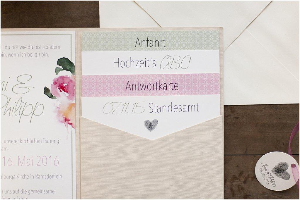 Pocketeinaldung offen, mit 4 Einsteckkarten und Elfenbein Briefumschlag