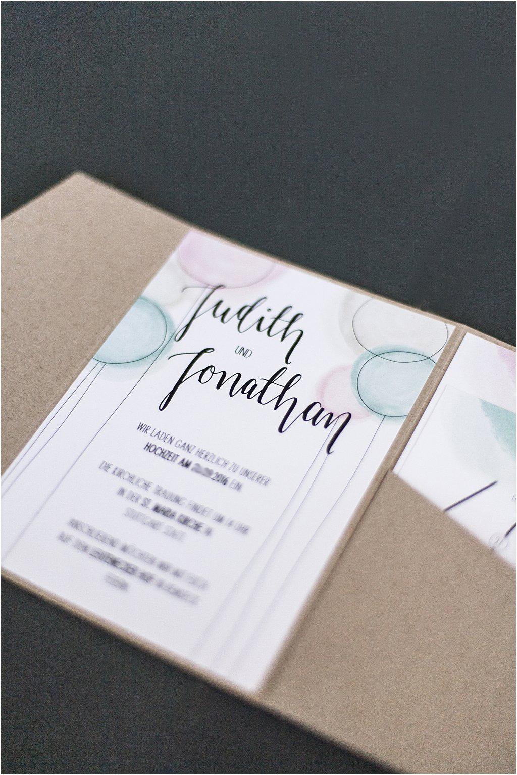 Pocketeinladung offen, eingeklebtes Einladungsschreiben