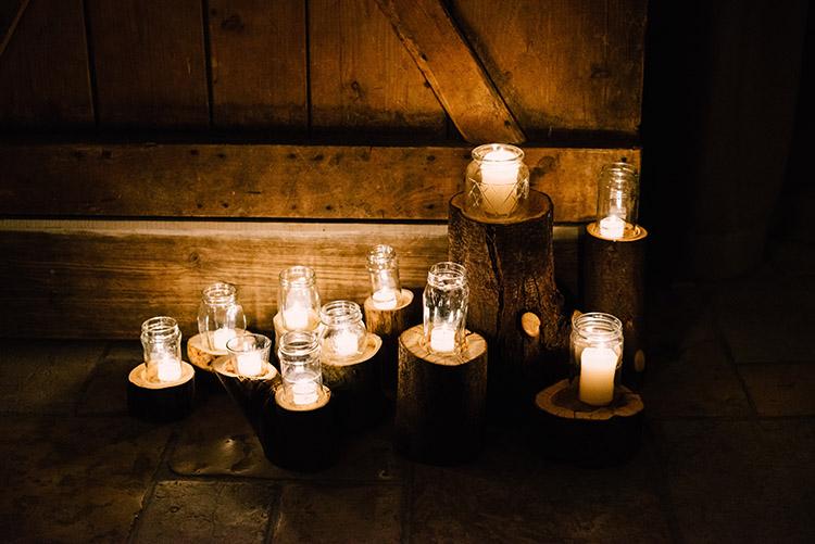 Kerzenschein Hochzeit rustikal