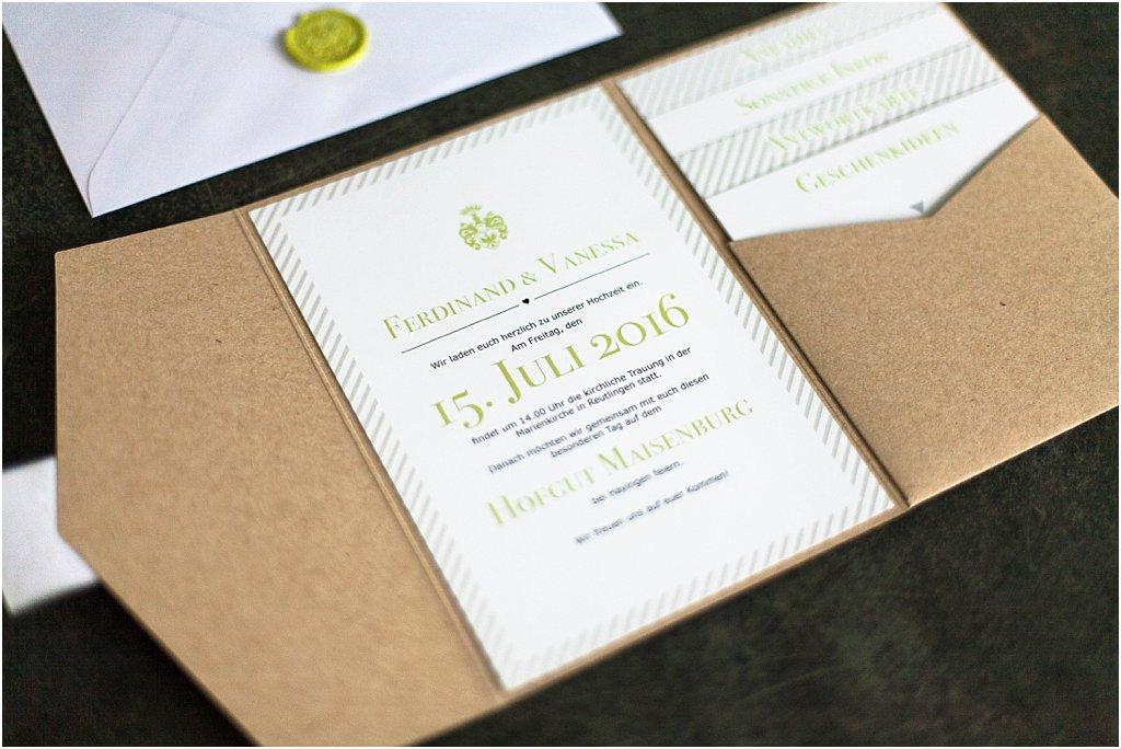 Pocketeinladung eingeklebtes Einladungsschreiben