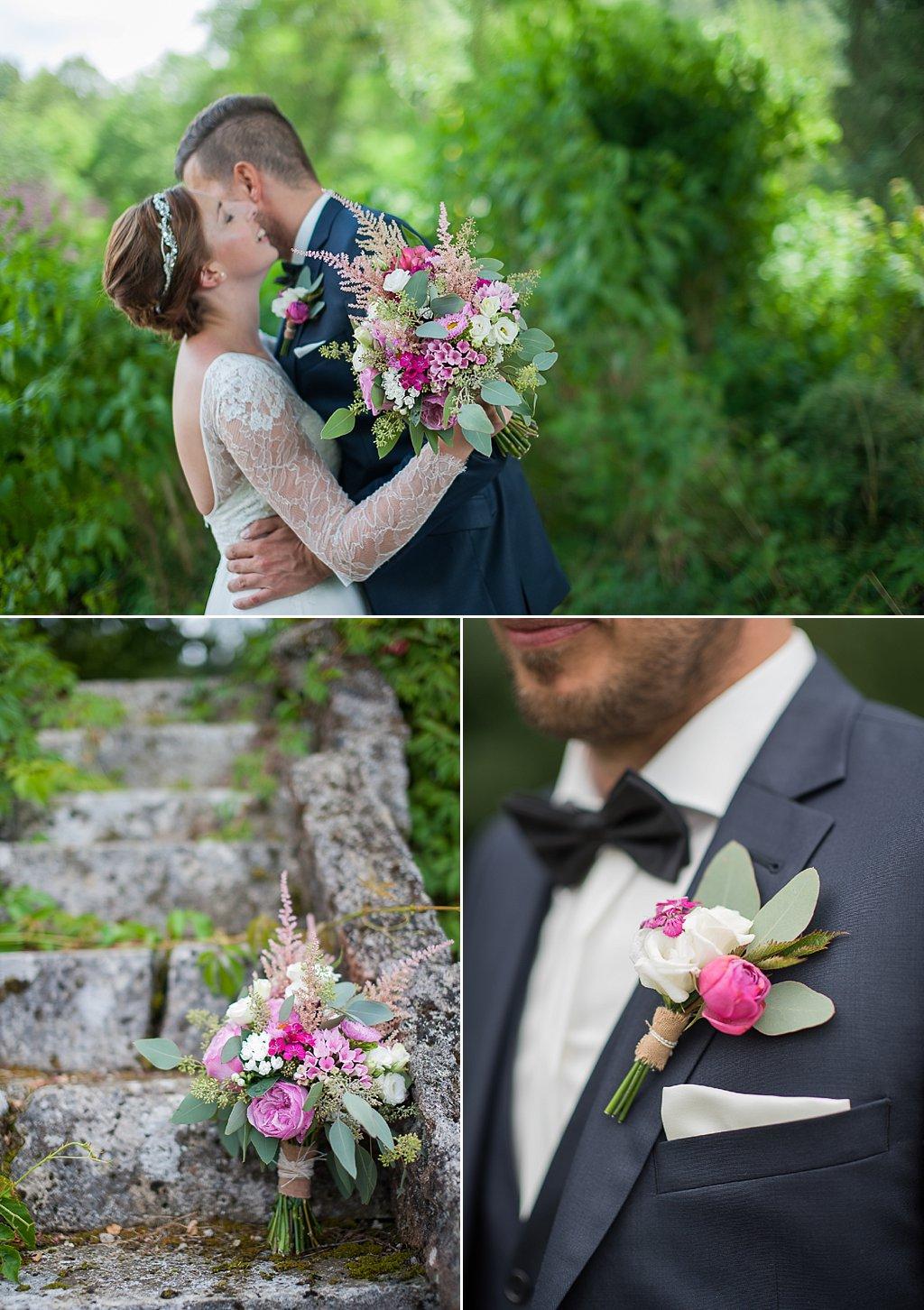 Anstecker und Brautstrauß pink Juli