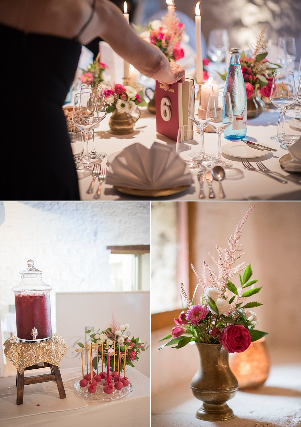 Buch als Tischnummer Blumenstrauß Bordeaux pink