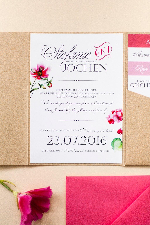 Einladungsschreiben, in Umschlag eingeklebt