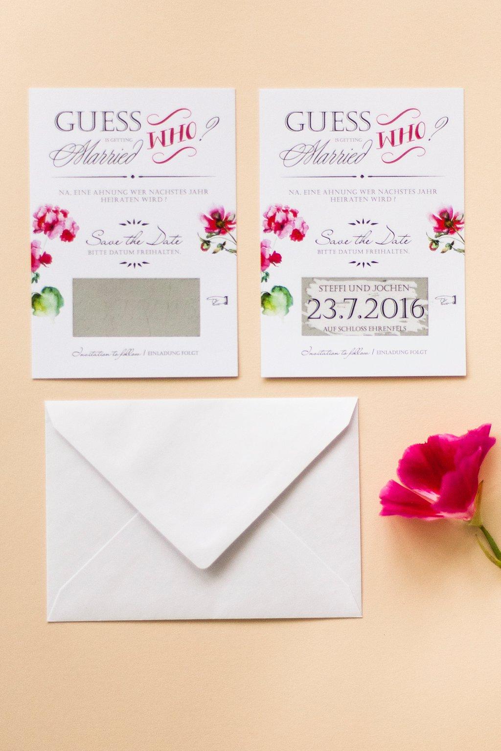 Save the Date Karte mit Rubbelfeld und Briefumschlag