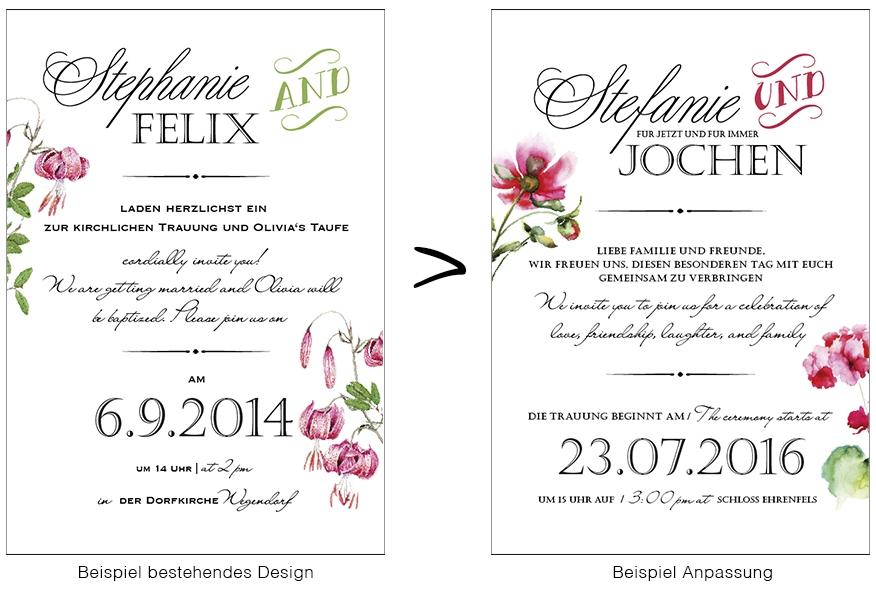 Design Einladung Anpassung