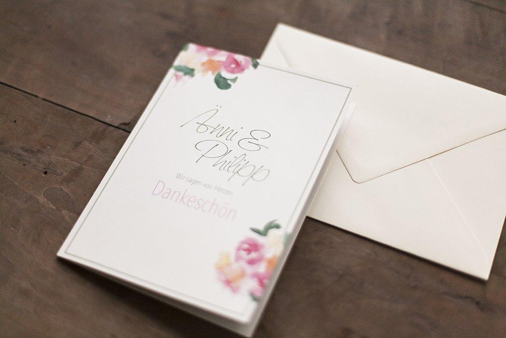 Dankeskarte, geschlossen mit Umschlag