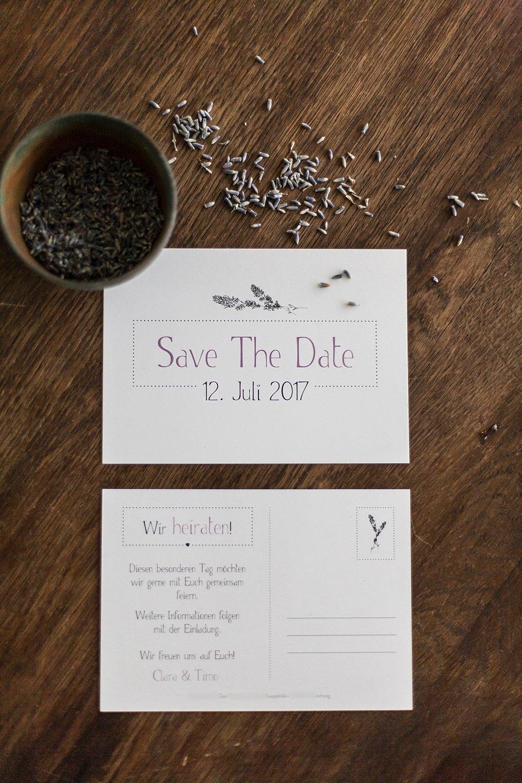 Save the Date Karte als Postkarte A6, Vorder- und Rückseite