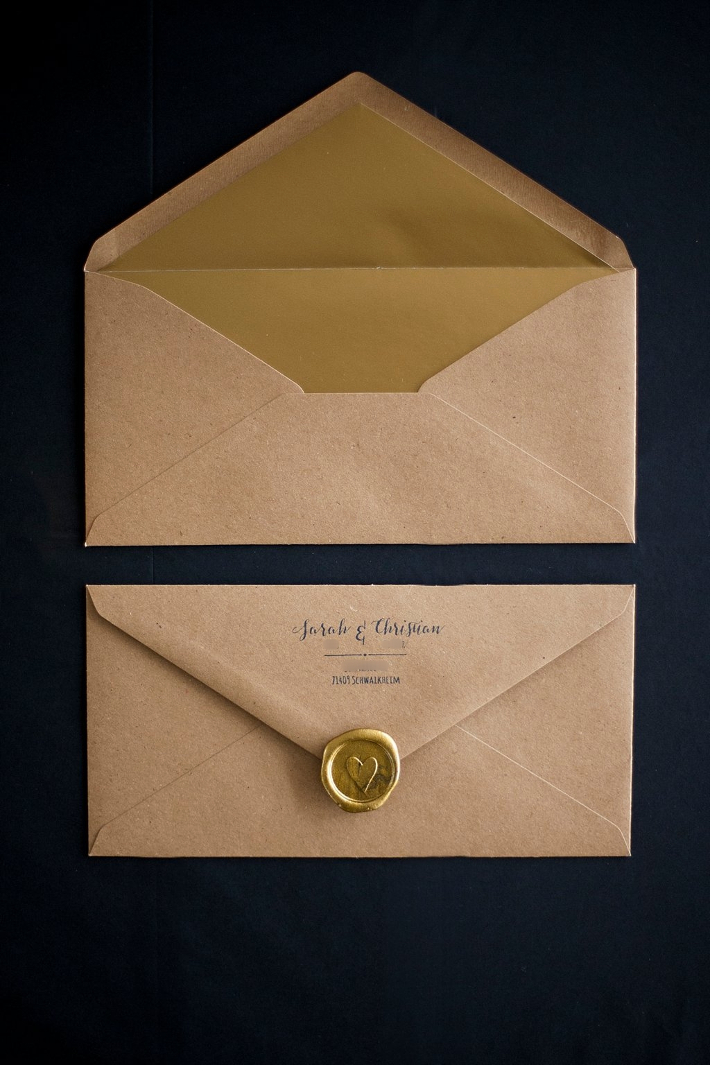 Kraftpapier Briefumschlag DinLang mit goldenem Inlay