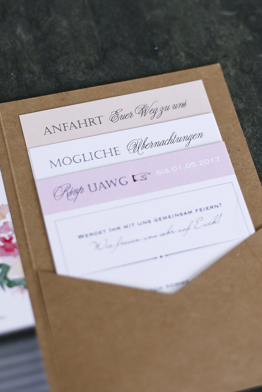 Drei Einsteckkarten der Pocketeinladung