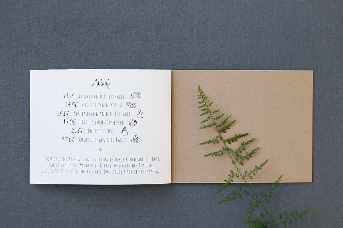 Booklet, letzte Seite Ablauf mit Rückblatt aus braunem Kraftpapier