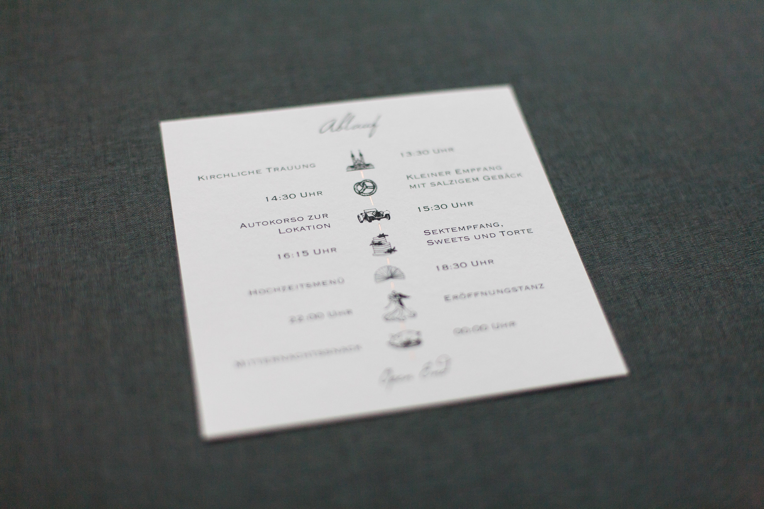Tagesablauf, Ablauf Hochzeitstag mit Symbolen, Bildchen und einer zarten Kupferlinie