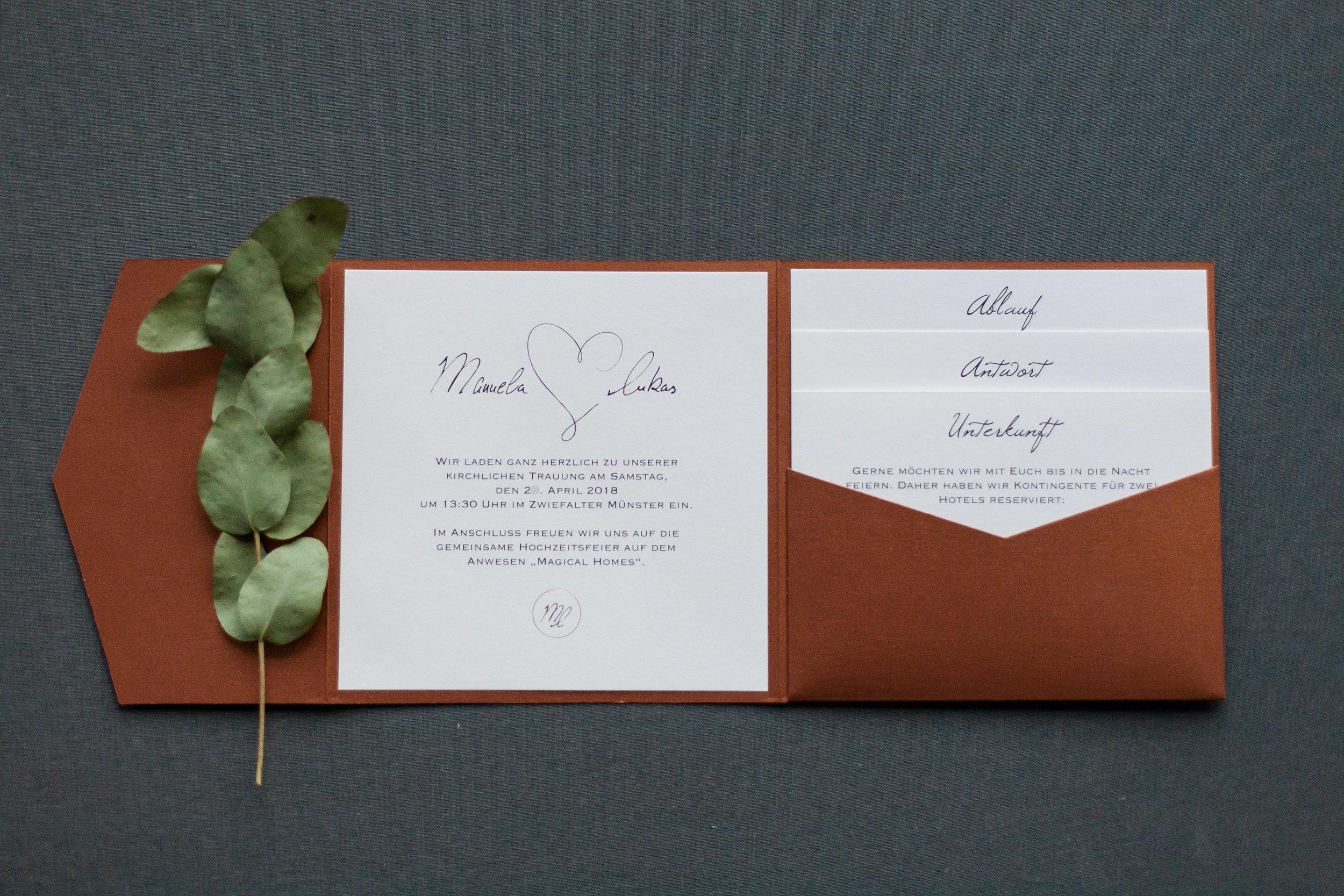 Pocketfold Einladung quadratisch Kupfer mit drei Einschüben und Einladungsschreiben