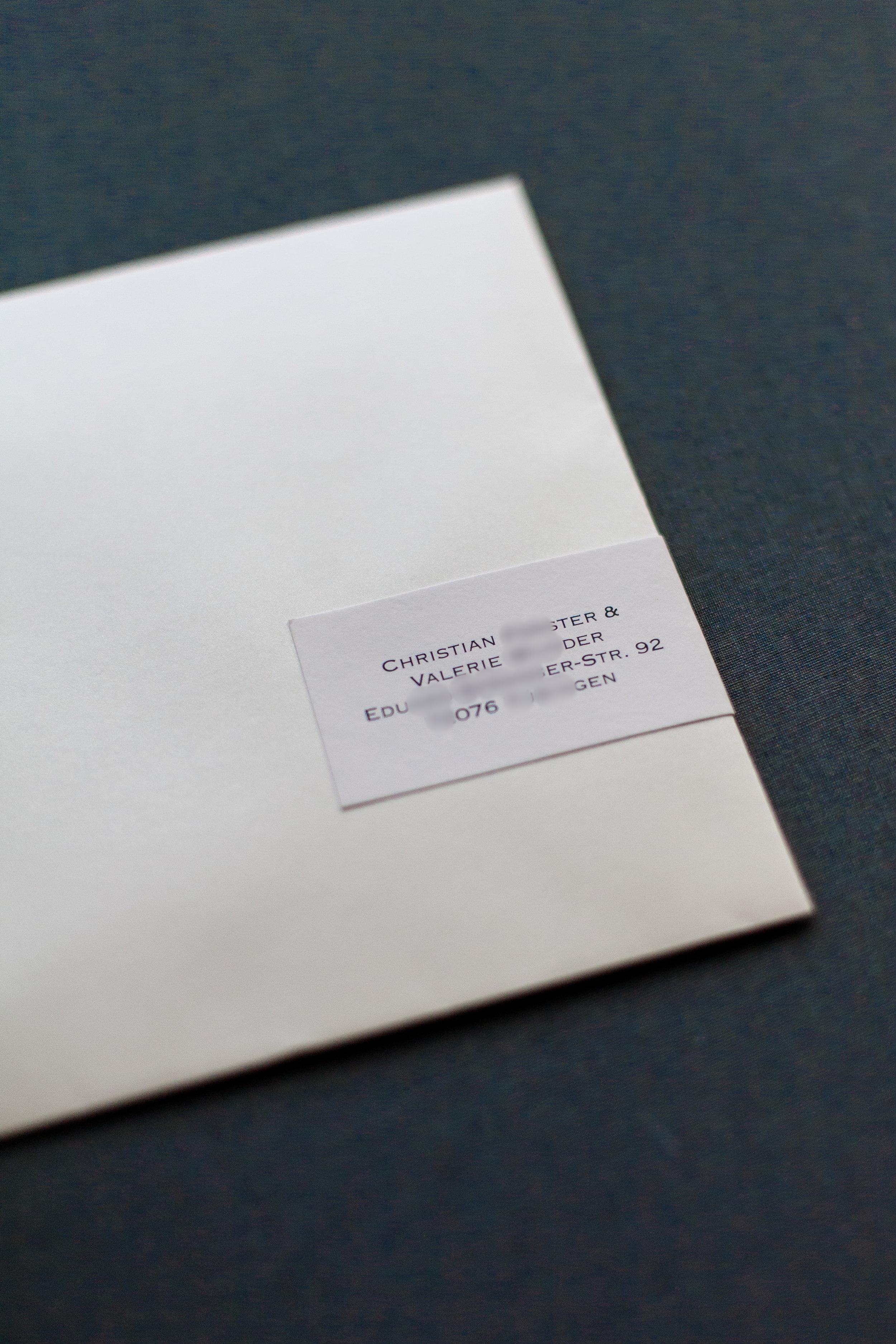 Briefumschlag Quadratisch Creme Schimmer, mit Adressaufkleber