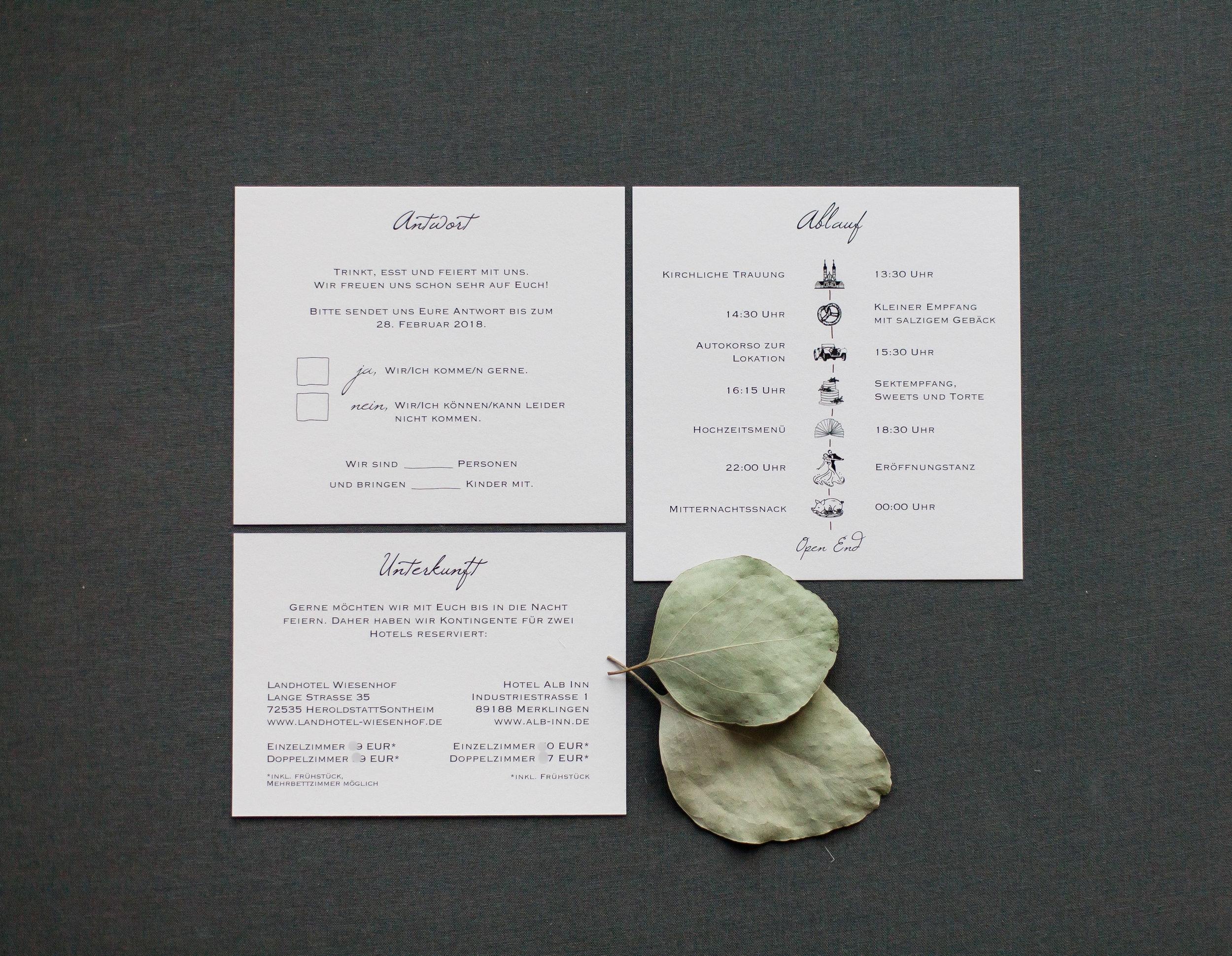 Drei Einsteckkarten, Einschübe für Pocketeinladung, Vorderseiten