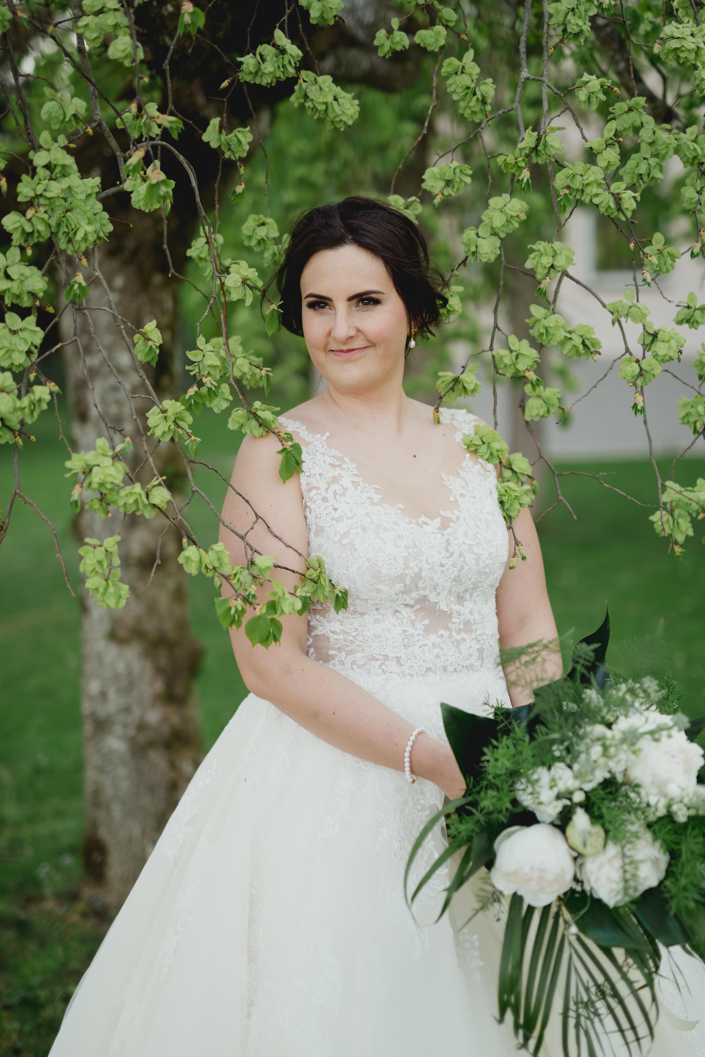 Brautstrauß grün weiß Braut 2018