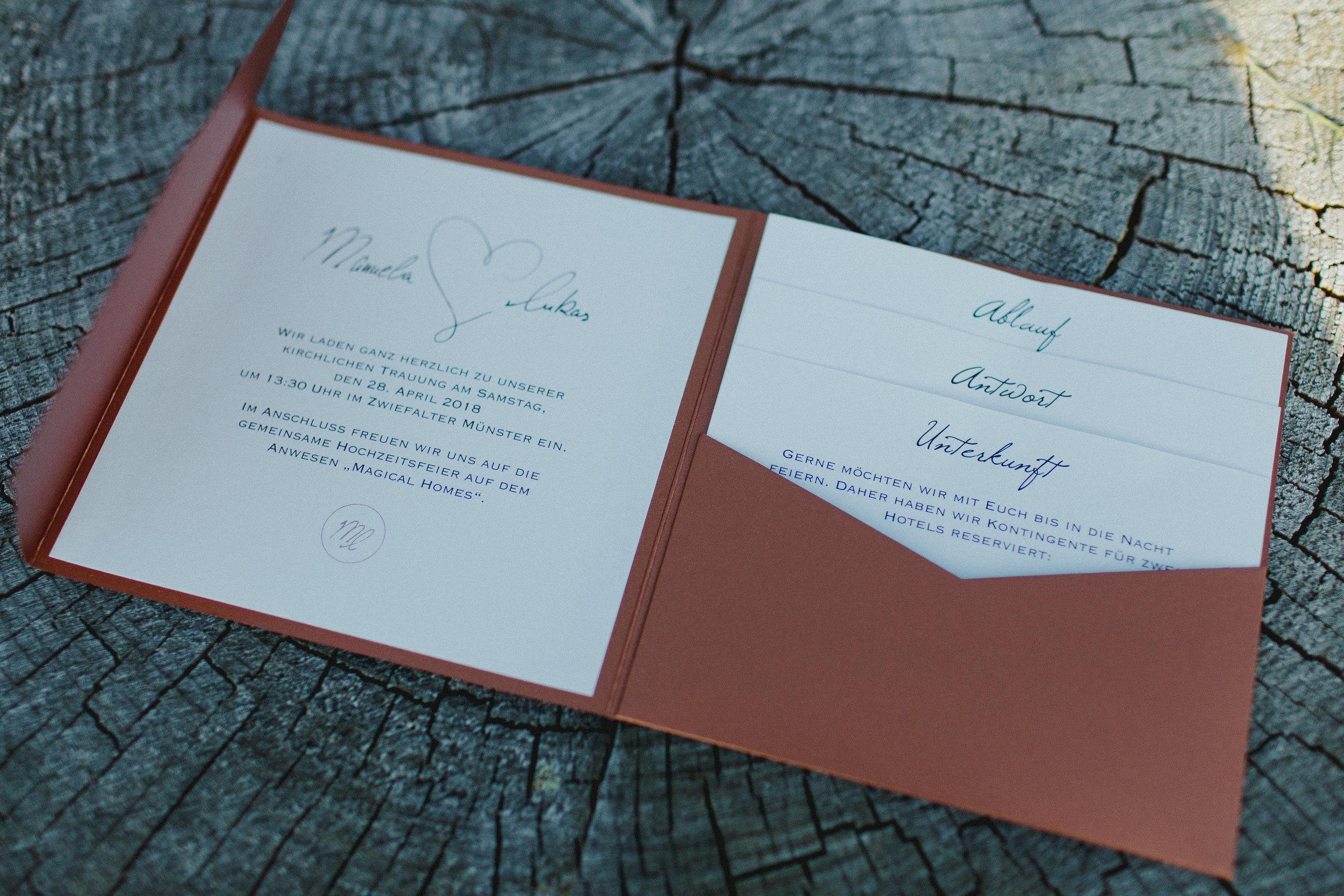 Einladung Hochzeitspapeterie Kupfer Pocketeinladung Urban Jungle