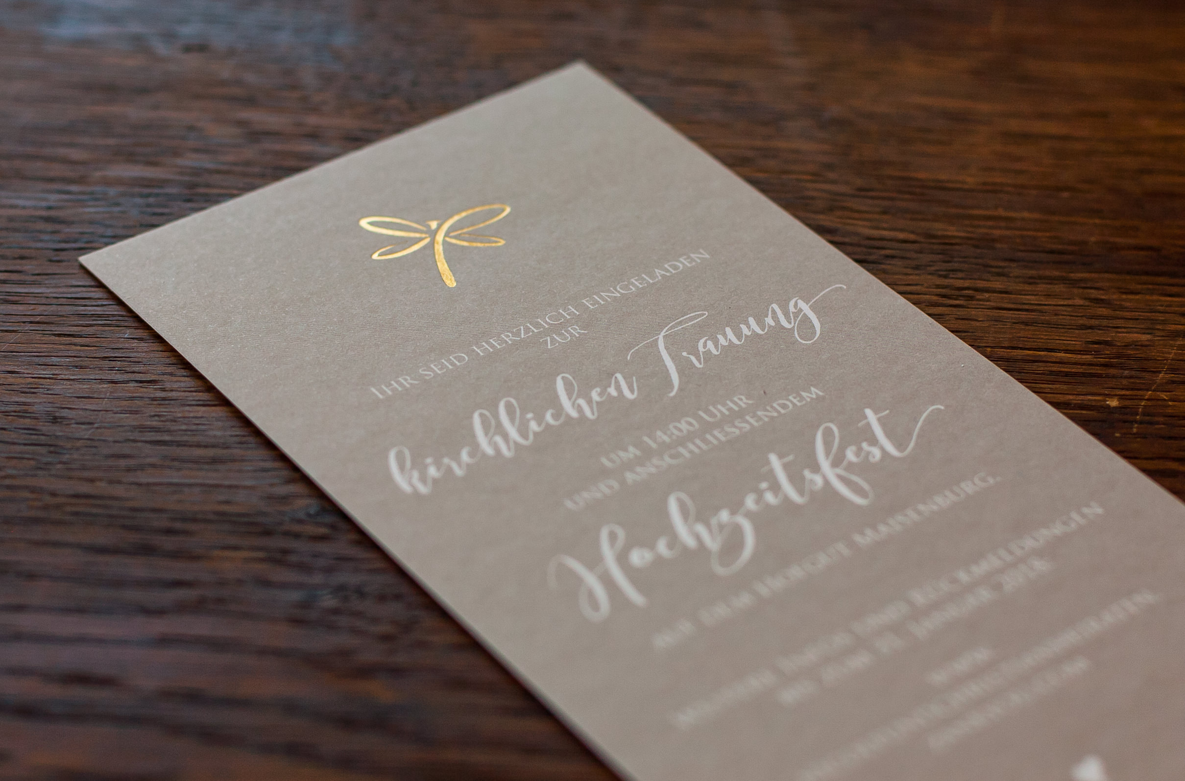 Detailansicht Einladung 2. Karte, Goldprägung, Heißfolienprägung Gold
