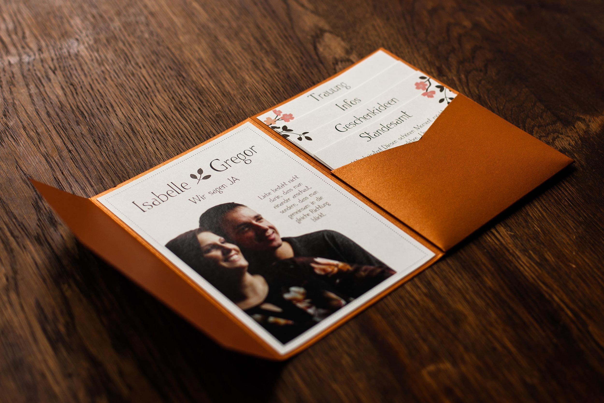 Pocketfold Einladung Kupfer mit Einladungsschreiben und vier Einschüben, Innenseite