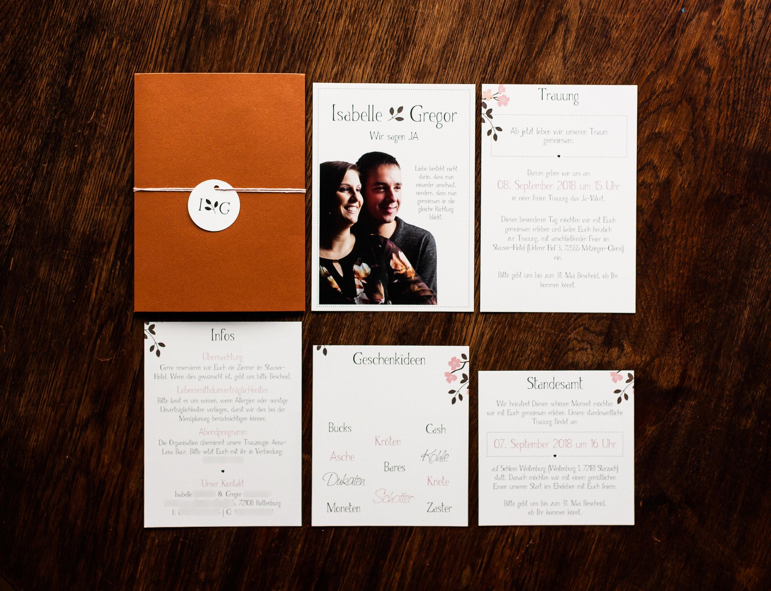 Pocketfold Einladung Kupfer mit Anhänger, Einladungsschreiben, Einsteckkarten