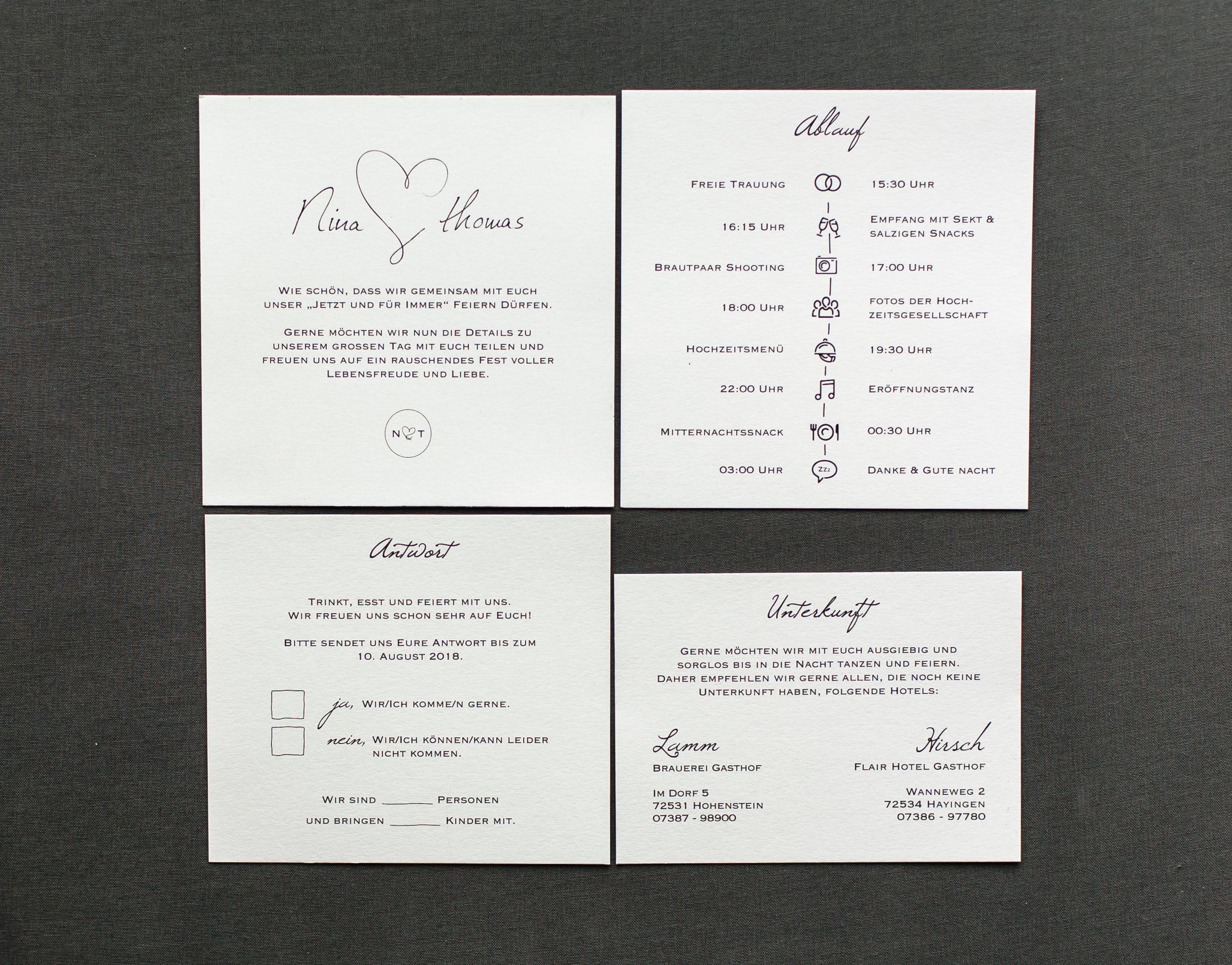 Einladungsschreiben und drei Einschubkarten