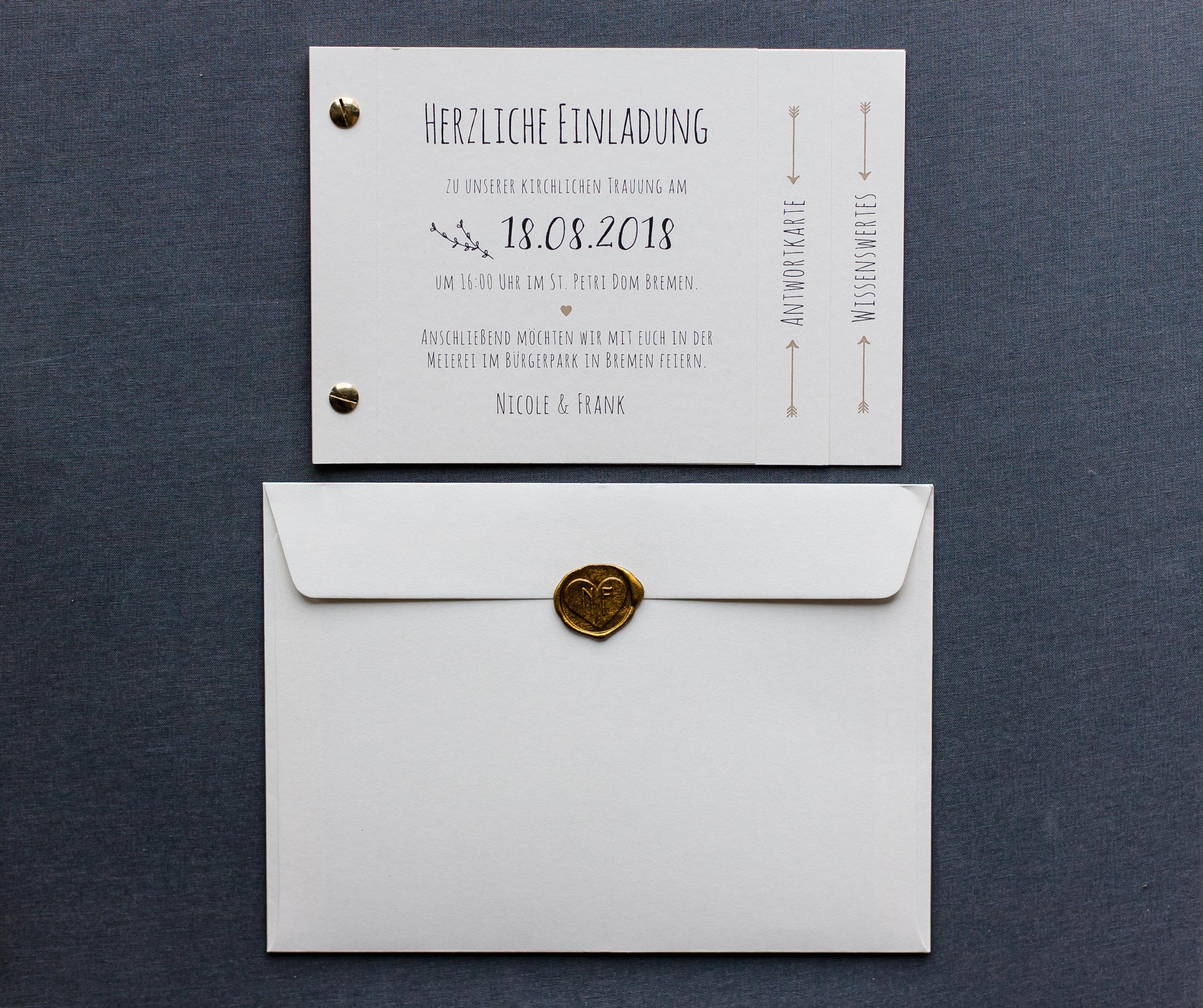 Booklets Einladung und Briefumschlag mit Siegelstempel Gold