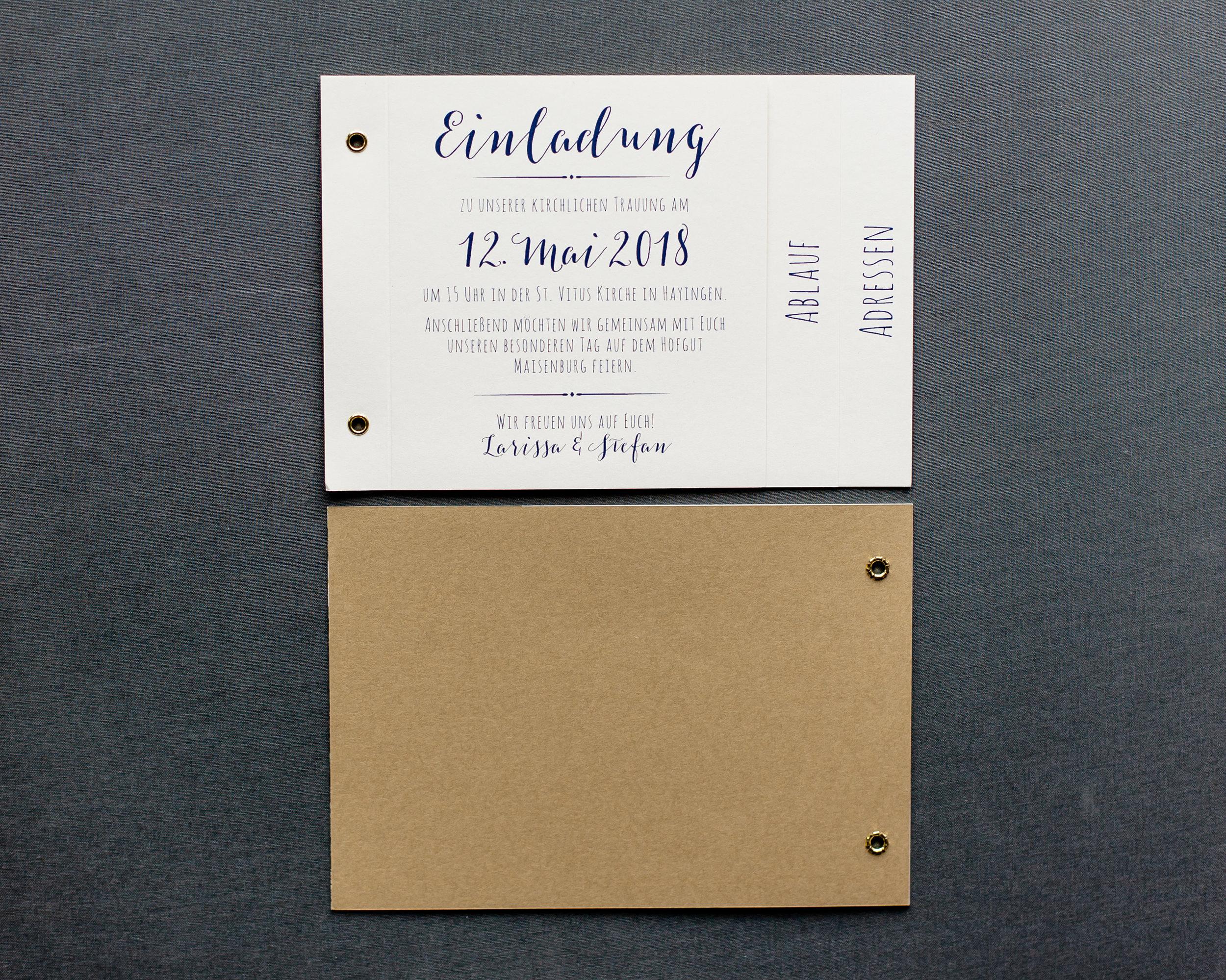 Booklets Einladung, geschlossen, Vorder- und Rückseite